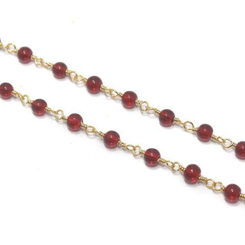 Jewellery Making Trans Glass Beads Chain 3mm Red, Pack Of 5 Mtrs