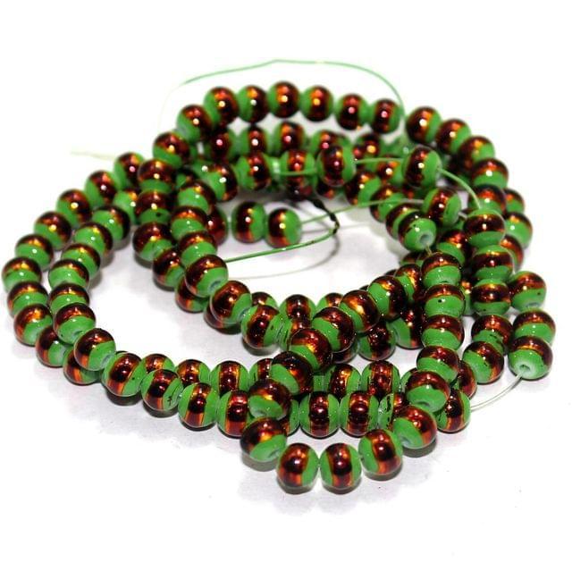 1 String Glass Round Beads Peridot 6mm
