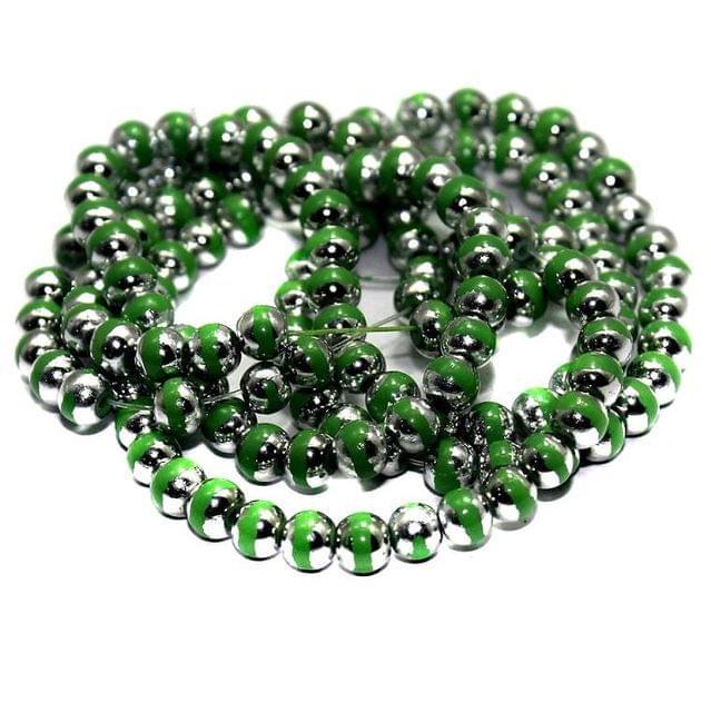 1 String Glass Round Beads Green 6mm