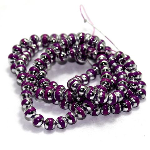 5 String Glass Round Beads Purple 6mm
