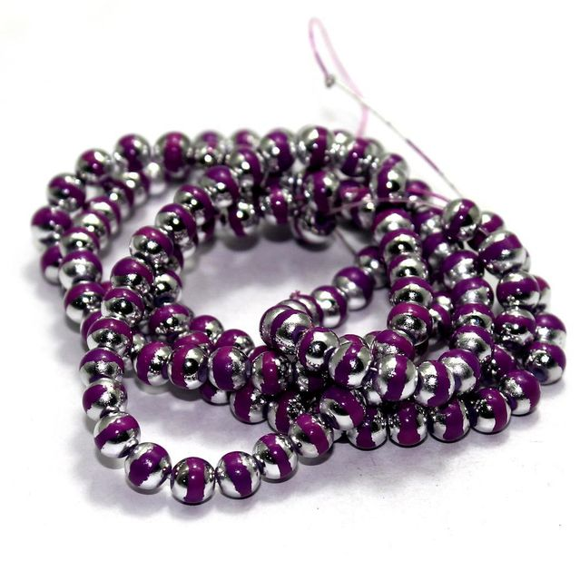 1 String Glass Round Beads Purple 6mm