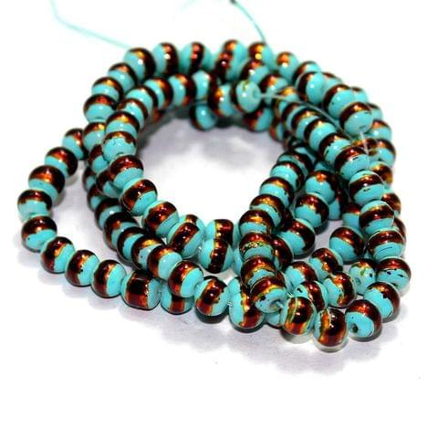 5 String Glass Round Beads Teal 6mm