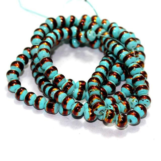 1 String Glass Round Beads Teal 6mm