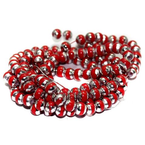 3 String Glass Round Beads Red 6mm