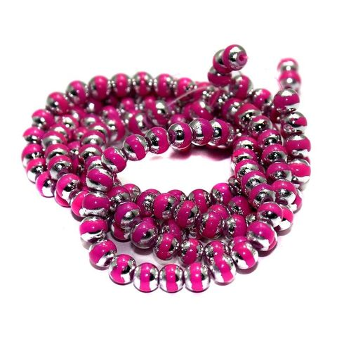 5 String Glass Round Beads Magenta 6mm