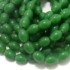 5 Strings Glass Oval Beads Green 12x8 mm