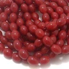 5 Strings Glass Oval Beads Red 12x8 mm