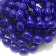 5 Strings Glass Oval Beads Blue 12x8 mm
