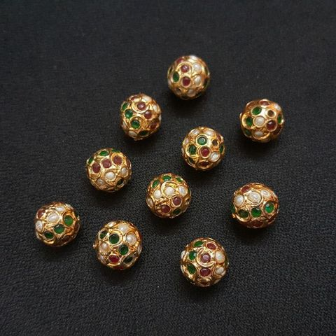 Red, Green And Moti Jadau Ball 12 mm, 10 Pieces