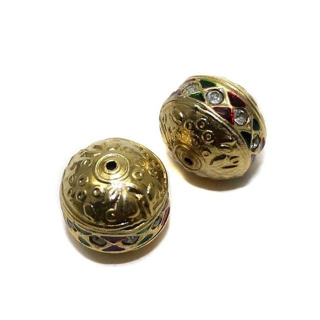2 Jadau Beads Red And Green 17x15mm