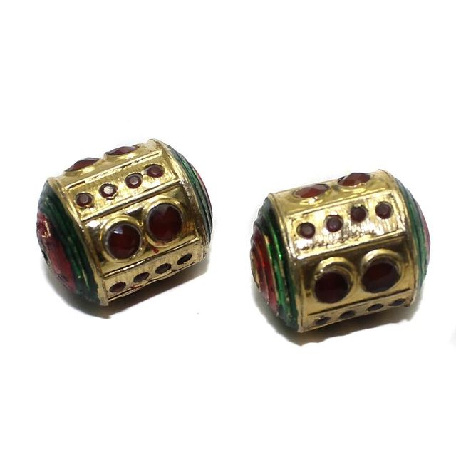 2 Jadau Beads Red 27x21mm