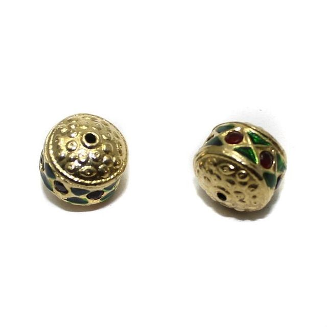 2 Jadau Beads Red And Green 12x10mm