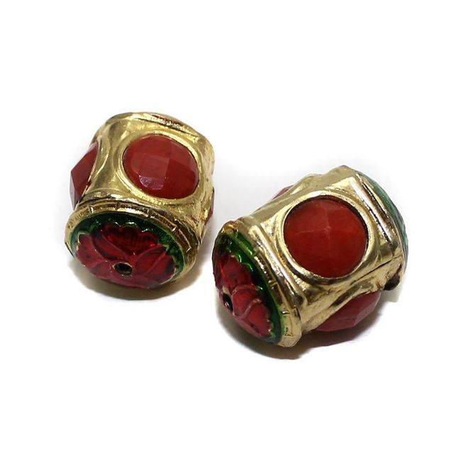 2 Jadau Beads Red 22x12mm