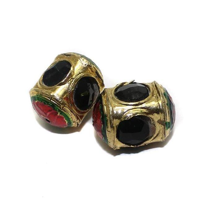 2 Jadau Beads Black 22x12mm