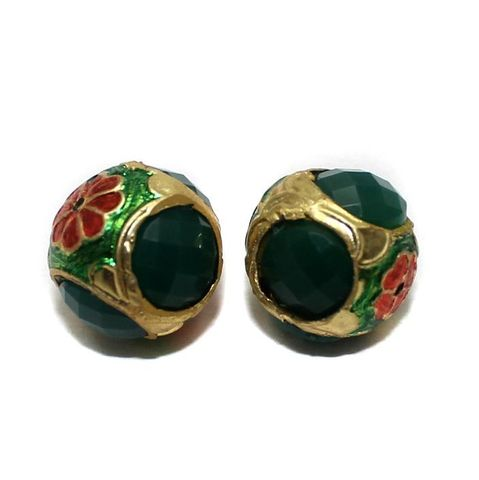 6 Jadau Round Beads Green 16mm