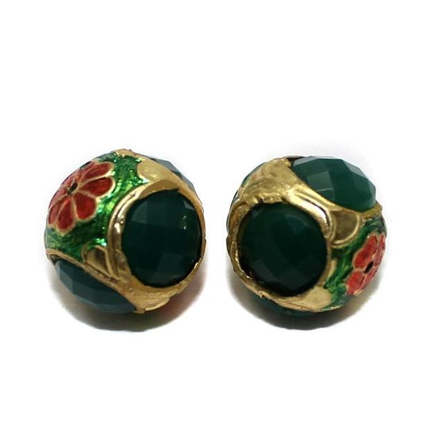 2 Jadau Round Beads Green 16mm