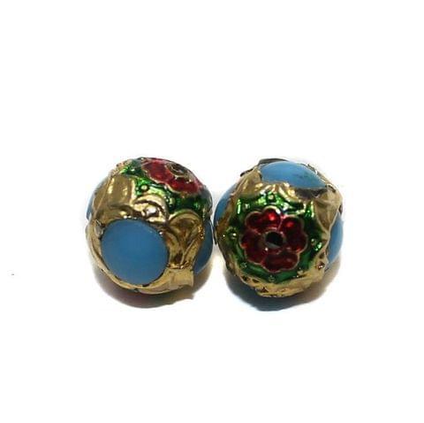 6 Jadau Round Beads Turquoise 14mm