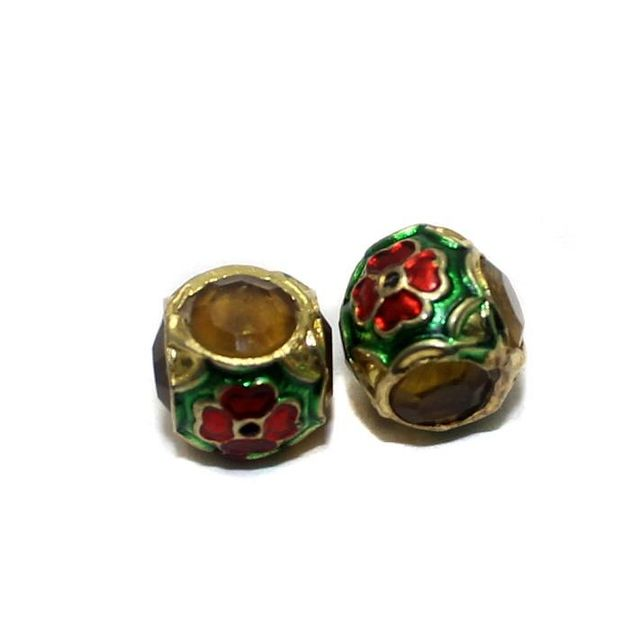 2 Jadau Round Beads Yellow 12mm