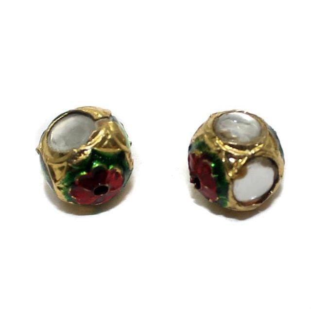 2 Jadau Round Beads White 12mm