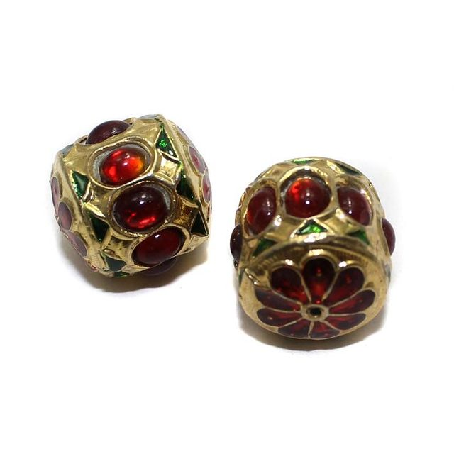 4 Jadau Beads Red 22mm