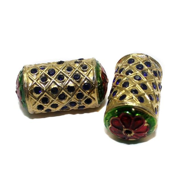 4 Jadau Beads Blue 30x16mm