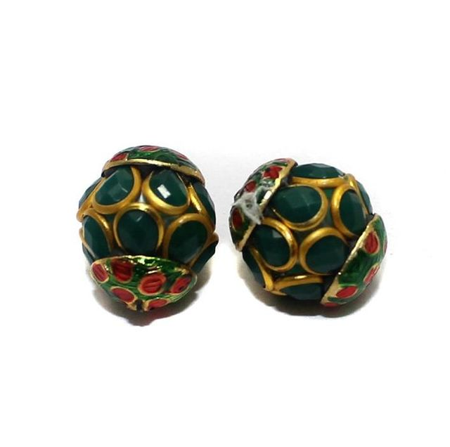 2 Pacchi RONDELLE Beads Green 13x15mm