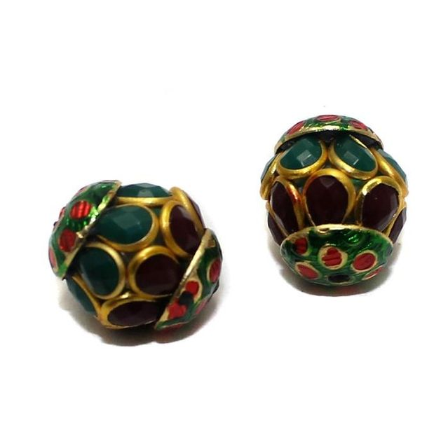 2 Pacchi RONDELLE Beads Red And Green 13x15mm