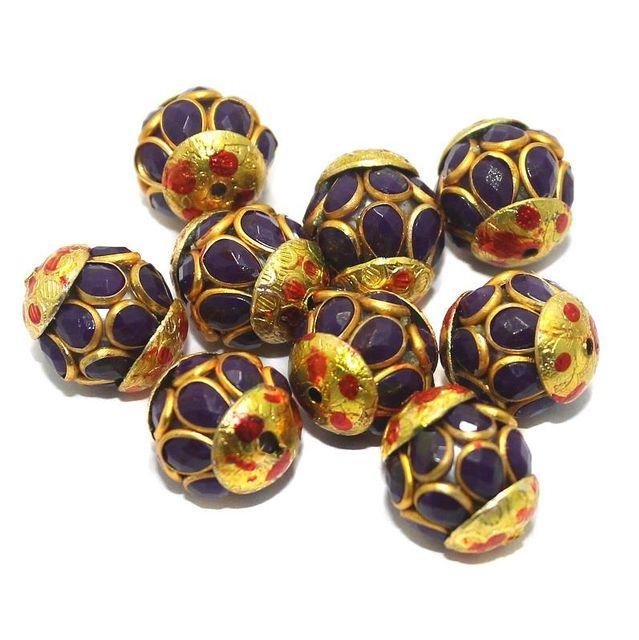 Pacchi Round Beads 15x12mm Purple