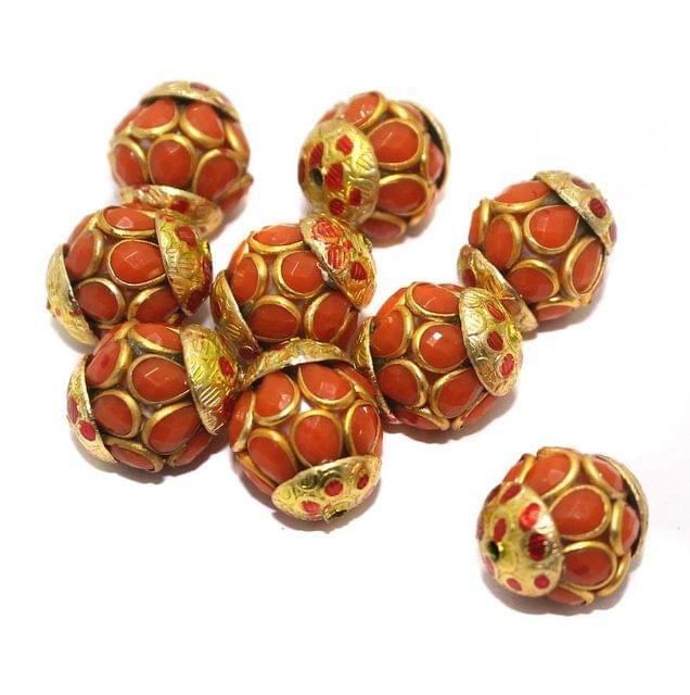 Pacchi Round Beads 15x12mm Orange