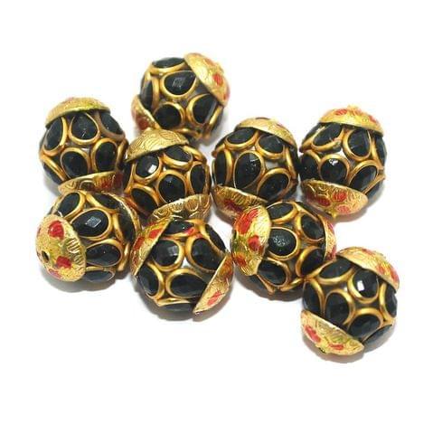 Pacchi Round Beads 15x12mm Black