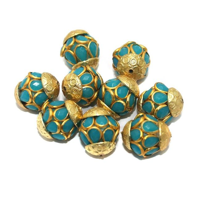 Pacchi Round Beads 15x12mm Turquoise