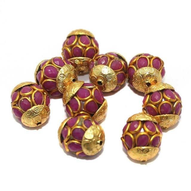 Pacchi Round Beads 15x12mm Rani colour