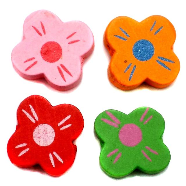 50 Wooden Funky Flower Beads Assorted 18mm