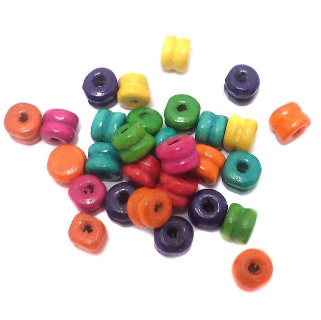 300+ Wooden Barrel Beads Assorted 7mm