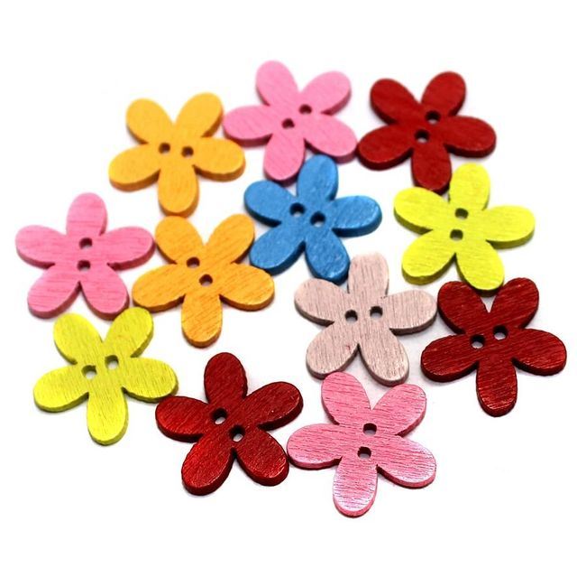50 Wooden Bottons Flower Assorted 14mm