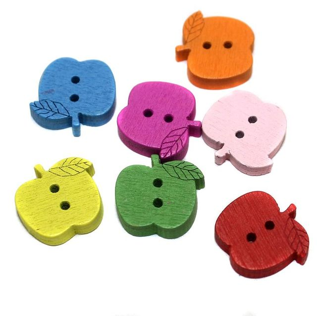 50 Wooden Bottons Apple Assorted Color 15mm