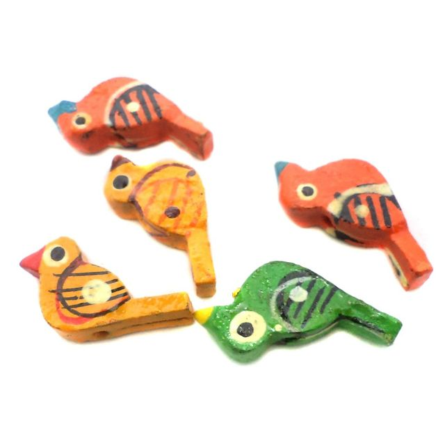 50 Pcs. Wooden Birds Beads Multicolored 1x0.55 Inch