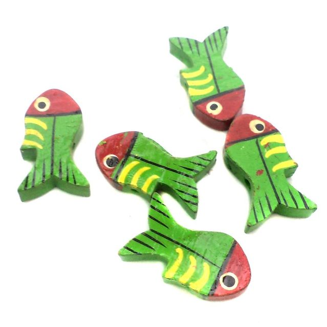 50 Pcs. Wooden Fish Beads Multicolored 1x0.5 Inch