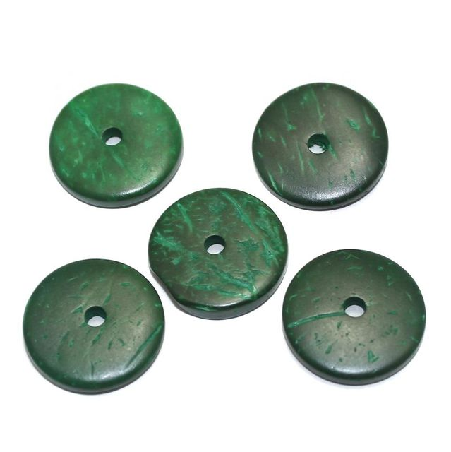 100 Wooden Beads Flat Round Green 20mm