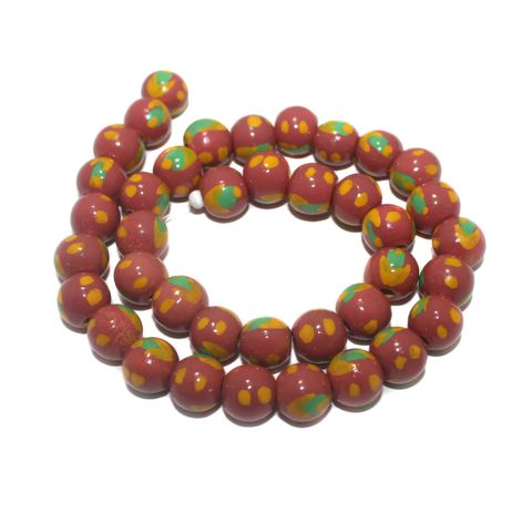 35+ Hand Printed Wooden Round Beads Coral 12mm