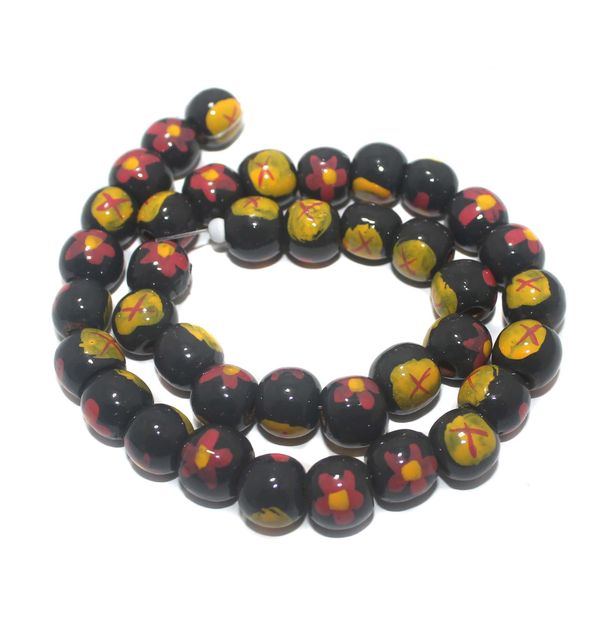 35+ Hand Printed Wooden Round Beads Black 12mm