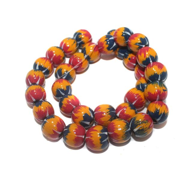 30+ Hand Printed Wooden Round Beads Assorted 14mm