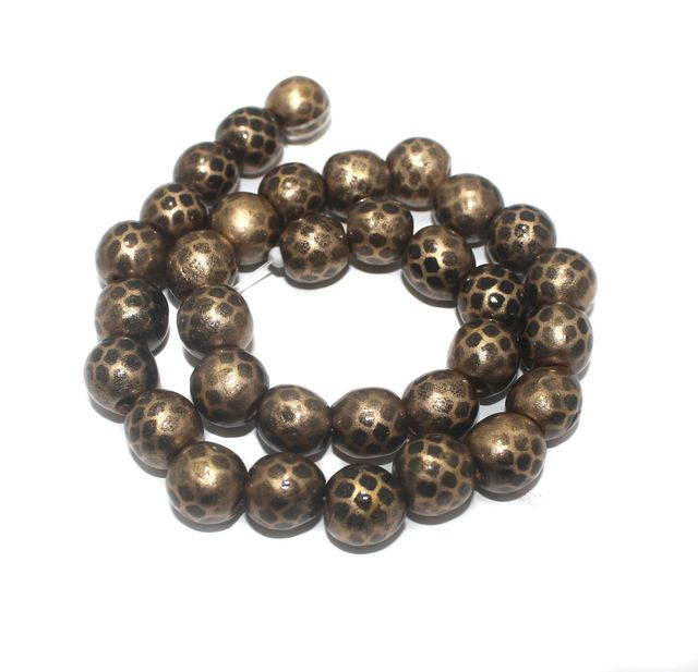 30+ Hand Printed Wooden Round Beads Golden 14mm