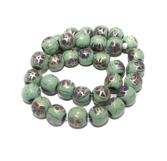 30+ Hand Printed Wooden Round Beads Sea Green 14mm