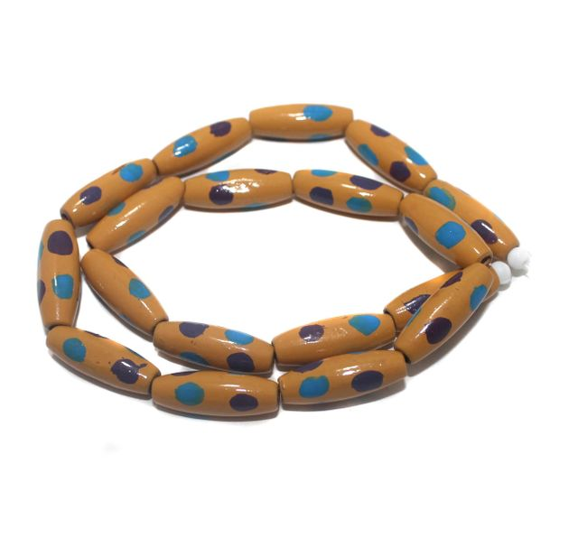 2 Strings Hand Printed Wooden Long Oval Beads Sandy Brown 22x8mm