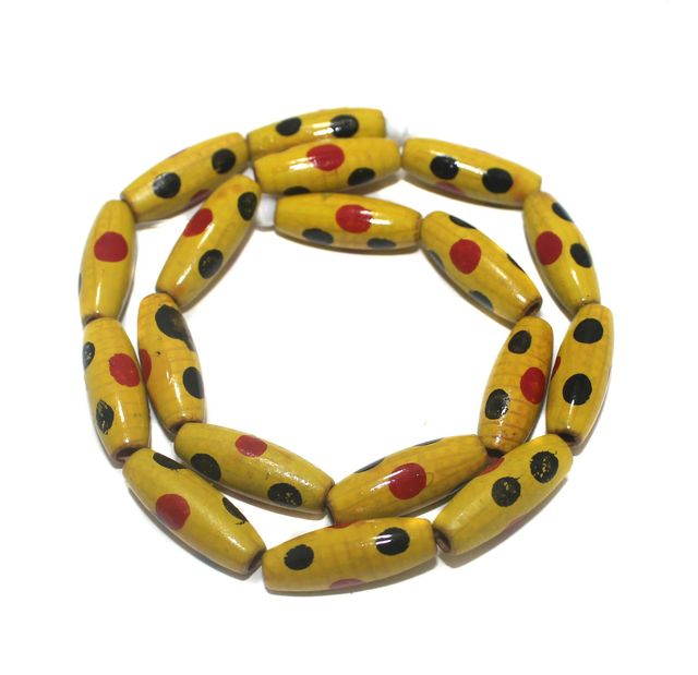 2 Strings Hand Printed Wooden Long Oval Beads Yellow 22x8mm