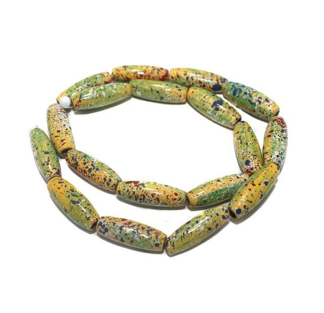 2 Strings Hand Printed Wooden Long Oval Beads Assorted 22x8mm