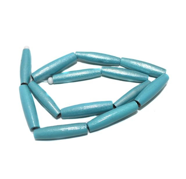 2 Strings Hand Printed Wooden Long Oval Beads Turquoise 32x8mm