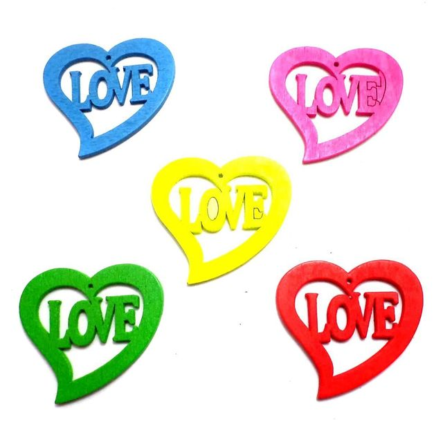 40 Wooden Love Heart Pendants and Charms Assorted 33x30mm