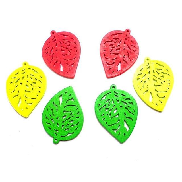 40 Wooden Leaf Pendants and Charms Assorted 32x23mm
